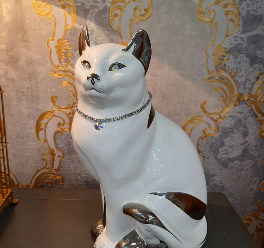 Декор Кошка серебро/ Ahura